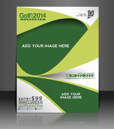 チラシ: ゴルフ トーナメント チラシ & ポスターのデザイン テンプレート  イラスト・ベクター素材