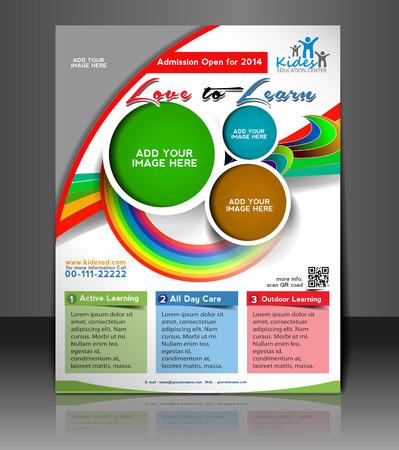 Kids School Flyer & Poster Template Design Vector