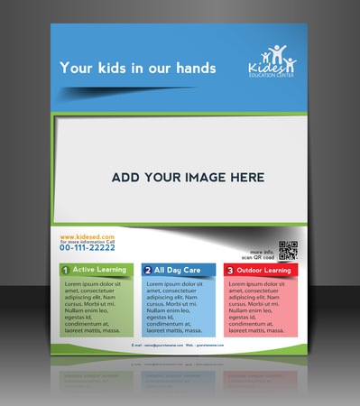 Kids School  Flyer & Poster Template Design Vector