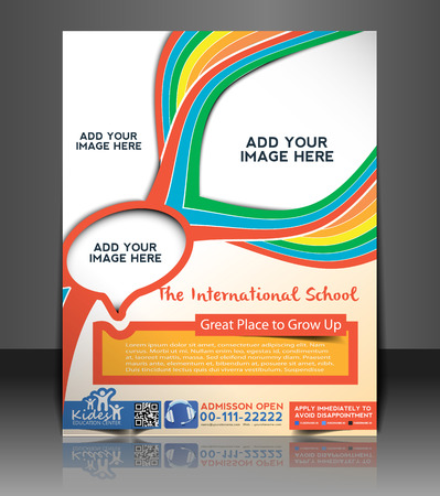 Folleto y cartel de la escuela de diseño de plantilla para Niños