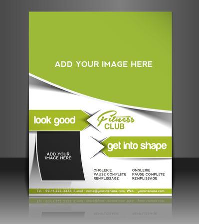 fitness training: Fitness Center Flyer & Poster Template Design Illustration