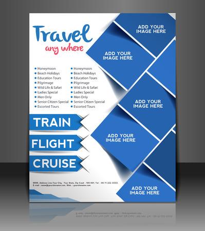 旅行センター チラシ & ポスターのデザイン テンプレート  イラスト・ベクター素材