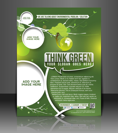 Eco Green Flyer & Poster Template Design Illustration