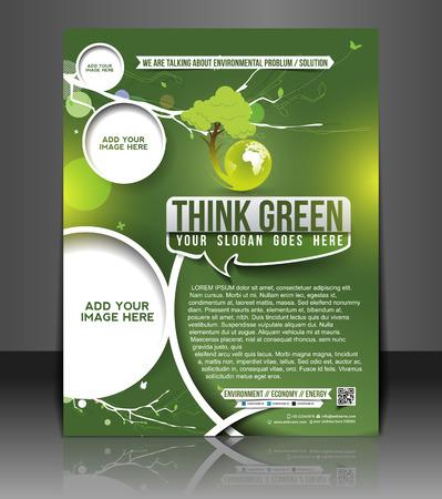 Eco Green Flyer & Poster Template Design Stock Vector - 26563035