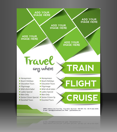 editable invitation: Travel Center Flyer & Poster Template Design Illustration