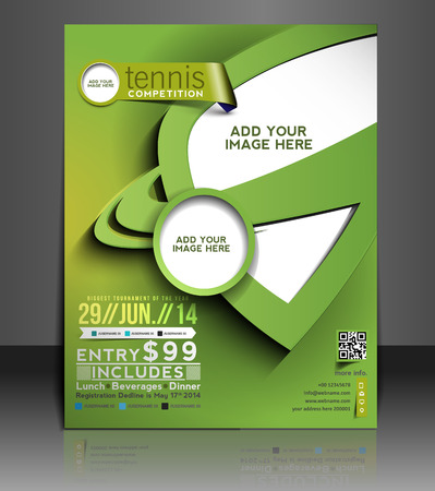 Tennis Competition Flyer & Poster Template Design Vector