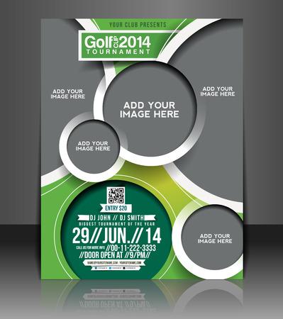 ゴルフ トーナメント チラシ & ポスターのデザイン テンプレート  イラスト・ベクター素材
