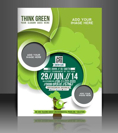 coworker banner: Eco Green Flyer & Poster Template Design