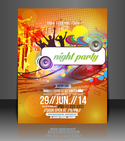 Music Party Flyer & Poster Template Design Vector