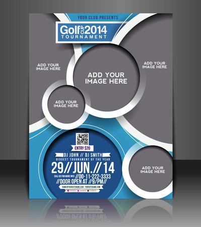 fundas: Torneo de Golf Flyer y Poster Diseño Plantilla Vectores