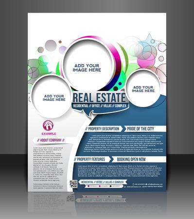 estates: Bienes Ra�ces folleto y cartel Dise�o Plantilla Vectores
