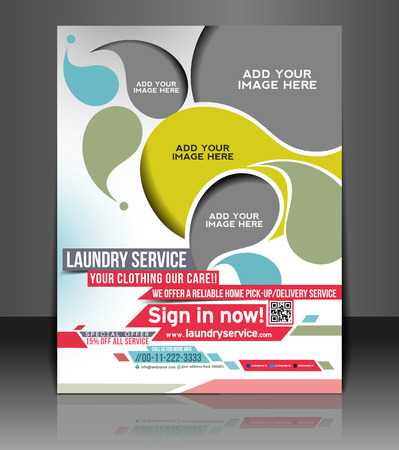 Wäsche-Service Flyer & Poster Template Design Illustration