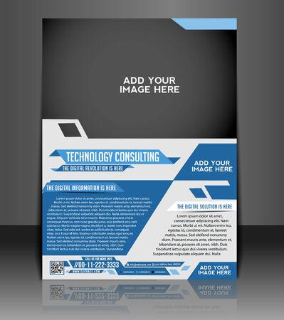 기술 컨설팅 전단 및 포스터 템플릿 디자인