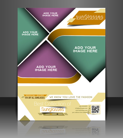 Optician Sunglasses Store Flyer & Poster Template Design Vector