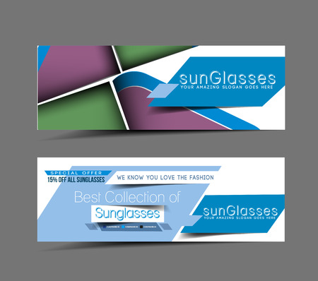 Optician Sunglasses Store Header & Banner Design  Vector