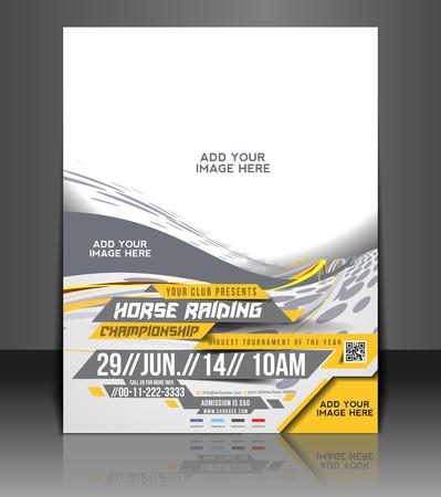 Reiten Flyer & Poster Template Design Standard-Bild - 26974843