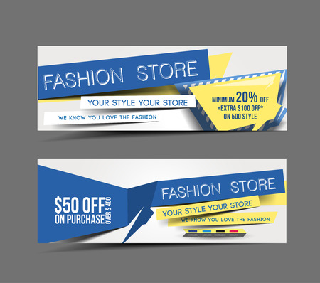 Fashion Store Promotion Header Vector Design