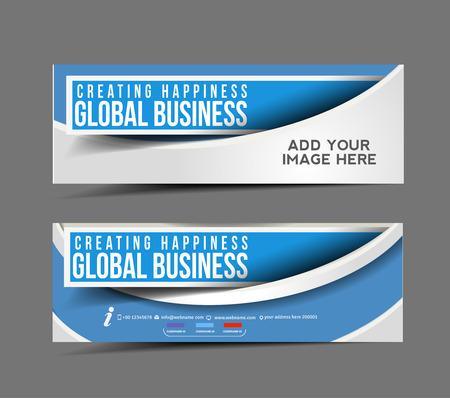 horizontal lines: Negocios Web Banner Global, encabezado plantilla de diseño. Vectores