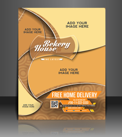 Bekery House Flyer   Poster Template Design Vector