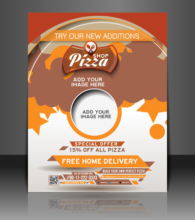 Pizza Shop Flyer   Poster Template Design Vector