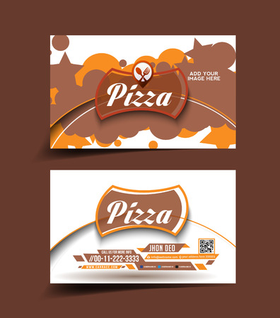 Pizza store business card set  Vector