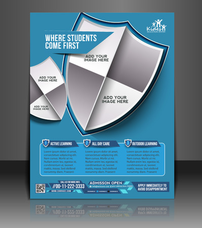 Kid s School Brochure, Flyer, Magazine Cover   Poster Template  Vector