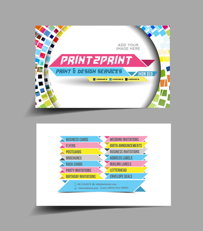 Business Card Set, Isolated With Soft Shadow Design  Illustration