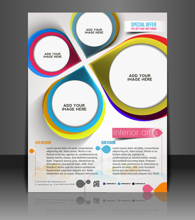 futuristic interior: Interior Designers Flyer & Poster Template Design