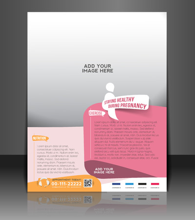Maternity Hospital Flyer & Poster Template Design Ilustracja