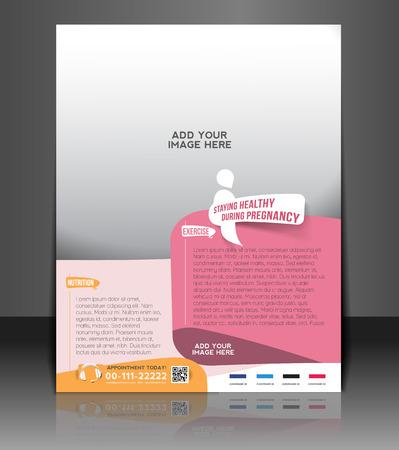 Maternity Hospital Flyer & Poster Template Design Illustration