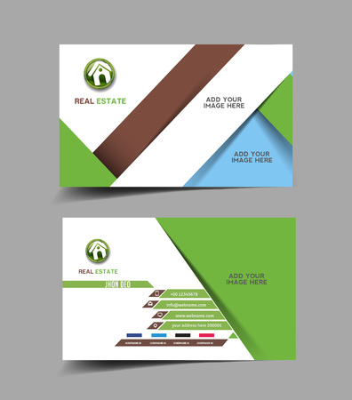 real estate agent: Real Estate Business Card Template Agente Set Vectores