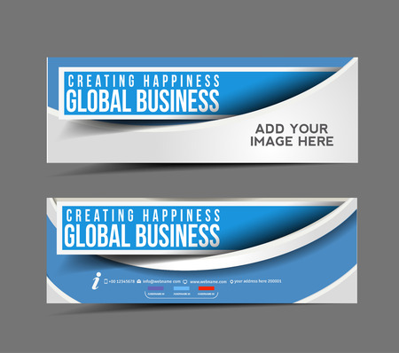 Global Business Web Banner, Header Layout Template.