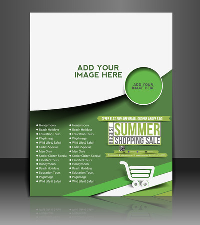 shopping family: Summer Shopping Flyer & Poster Template Design Illustration