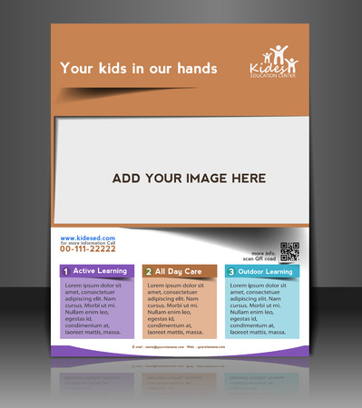 Kids School Brochure Flyer & Poster Template Design Vector