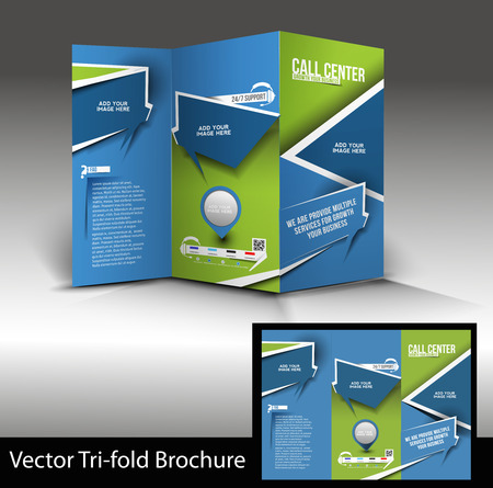call center office: Tri-Fold Call Center Mock up & Brochure Design