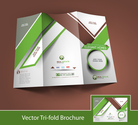 Real Estate Tri-Fold Mock up & Brochure Design  Vector