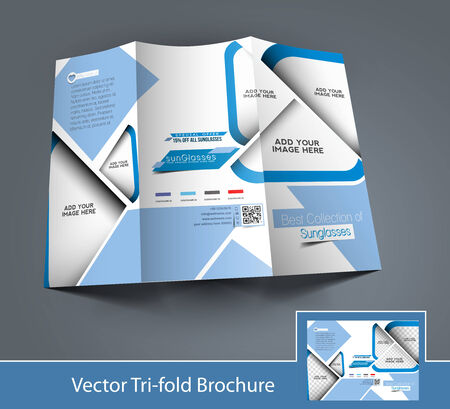 Tri-Fold Optician Sunglasses Store Mock up & Brochure Design Vector