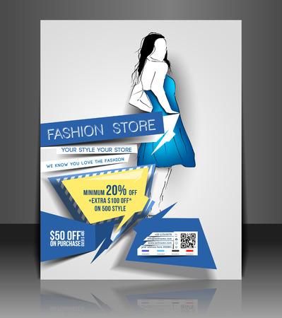 invitation barcode: Fashion store Flyer & Poster Template Design