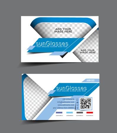 Sun Glass Store Business Card Set Design Vector