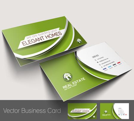 不動産業者のビジネス カードのセット テンプレート  イラスト・ベクター素材