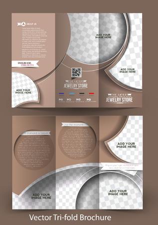 Tri-Fold Jewelry Store Mock up & Brochure Design  Vector