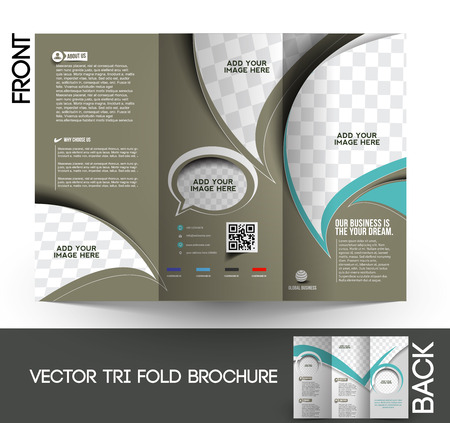 tri fold: Corporate Business Tri-Fold Mock up & Brochure Design  Illustration
