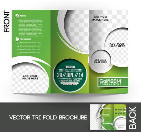 3 つ折りゴルフ トーナメントのモックアップを作成 & パンフレット デザイン