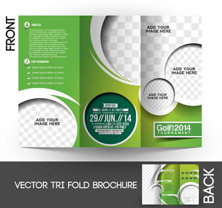 Tri-Fold Golf Tournament Mock up & Brochure Design Vector