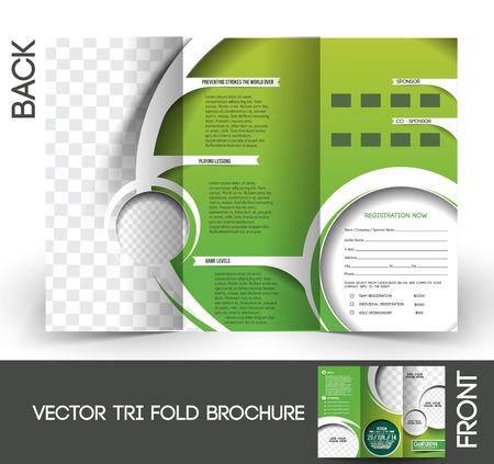 Tri-Fold Golf Tournament Mock up & Brochure Ontwerp Stock Illustratie