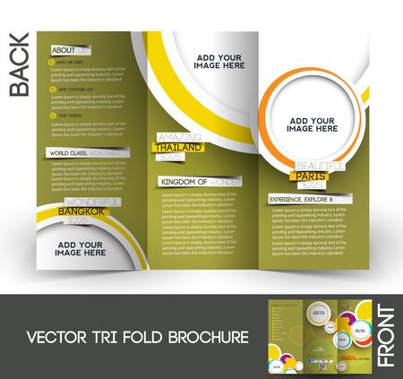 editable invitation: Tri-Fold Travel Mock up & Brochure Design Illustration
