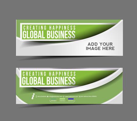 Modern Global Business Design Banner Template  일러스트