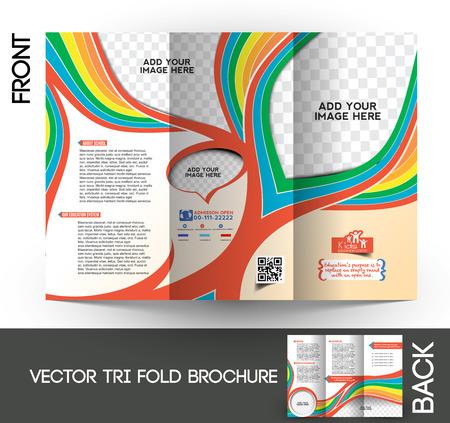 Kids School Tri-Fold Mock up & Brochure Design  Vector