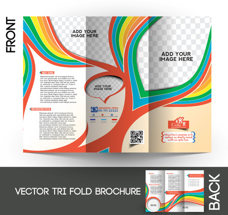 magazine template: Kids School Tri-Fold Mock up & Brochure Design