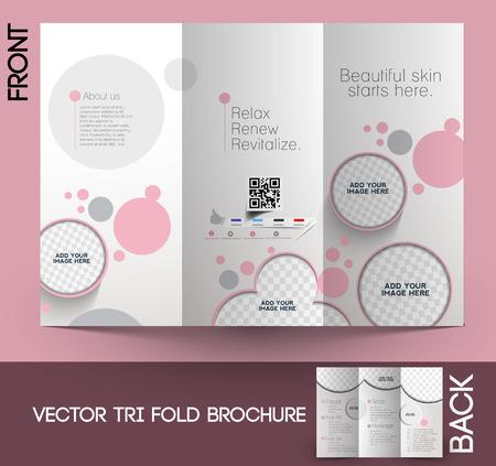 美容ケア & サロン三つ折りのモックアップを作成 & パンフレット デザイン